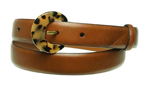 Lauren Ralph Lauren Womens Tortoise Buckle Skinny Leather Belt Tan S