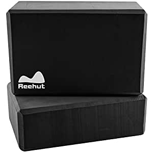 "Reehut (1-PC) Yoga Block, 9""x6""x4"" - High Density EVA Foam Block to Support and Deepen Poses, Improve Strength and Aid Balance and Flexibility - Lightweight, Odor Resistant(Black)"