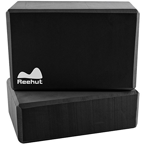 "Reehut (2-PC) Yoga Blocks, 9""x6""x3"" - High Density EVA Foam Blocks to Support and Deepen Poses, Improve Strength and Aid Balance and Flexibility - Lightweight, Odor Resistant(Black)"