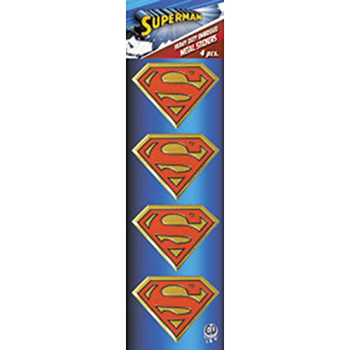 "DC+Comics Products : SUPERMAN Logo 4pc Set, Officially Licensed DC Comics Originals, Premium Vinyl Gold Metallic Finish, 1.5"" Metal STICKER"