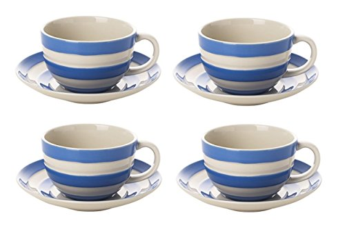 Cornishware Blue and White Stripe Set of 4 Breakfast Cups and Saucers White Breakfast Cup