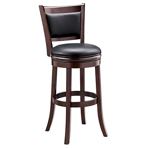 Ball & Cast Jayden Wooden Swivel Bar Stool with Faux-Leather Upholstery - 29 Inch Seat Height, Cappuccino (29 Stool Saddle)