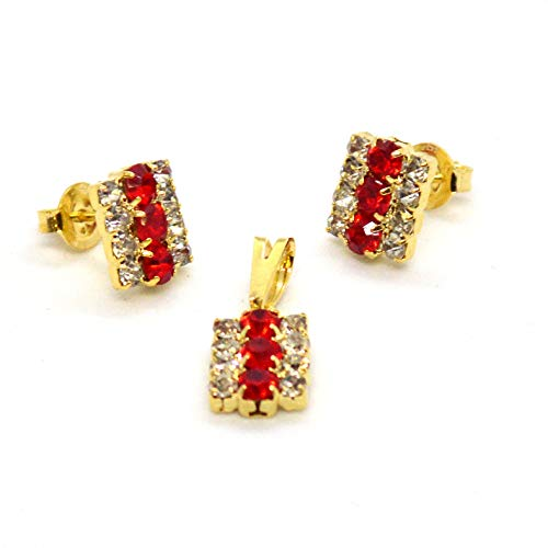 ((1-6317-h9) Gold Overlay Red and White Crystals Set, 10mm.)