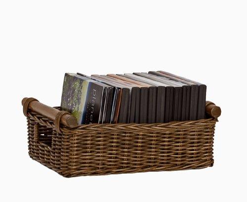 (The Basket Lady DVD or Paper Wicker Storage Basket, Medium, Antique Walnut Brown)