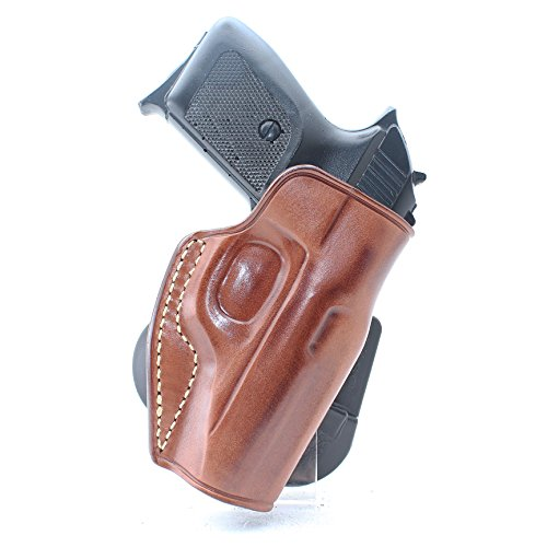 Premium Leather OWB Paddle Holster with Open Top Fits, Makarov PM, Makarov PPK, Polish P64, Walther PP/PPK, Walther PPK/S, Right Hand Draw, Brown Color (Walther PP/PPK) #1169#