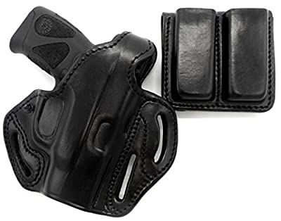 HOLSTERMART USA TAGUA Premium Deluxe Black Leather Thumb Break Belt Holster and Double Magazine Carrier Combo for Taurus Millennium G2C
