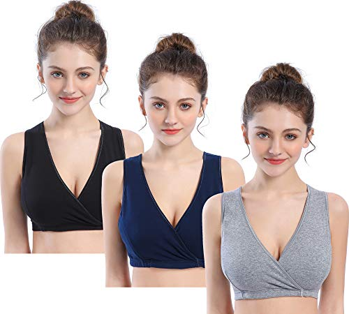 CAKEY Maternity Nursing Sleep Bra Tank for Breastfeeding/Pregnancy (Large, Black+Navy+grey/3pcs)