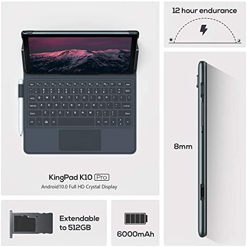 "VASTKING KingPad K10 Pro 10.1"" Octa-Core Tablet, 4GB RAM, 64GB Storage, Android 10, 1920x1200 Tablet with Keyboard and Stylus Pen, 60Hz Screen Rate, 13MP Rear Camera, 5G WiFi, GPS, Silver Grey"