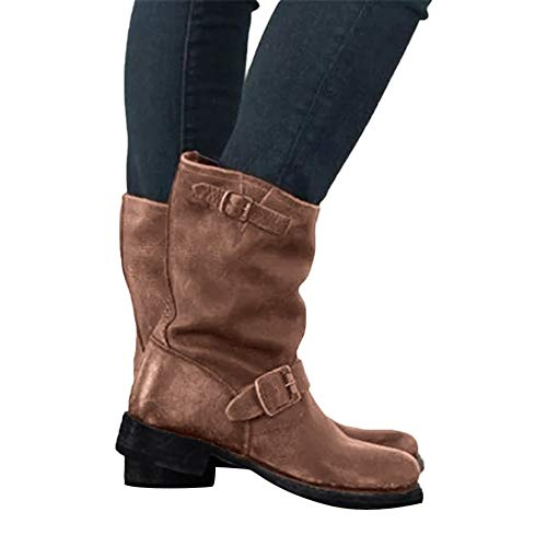 Clearance Sale Waterproof Boots,Aurorax Womens Girls Motorcycle Mid-Calf Flat Boots Winter Warm Shoes 5.5-9.5 (Brown, ()