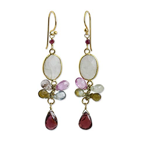 (NOVICA Multi-Gem Tourmaline 24k Gold Plated .925 Sterling Silver Dangle Earrings 'Rainbow Snow')