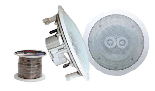 PyleHome - Pair of 5.25'' In-Ceiling (Dual Channel) Weather Proof Speakers + 100 ft. Spool Speaker Wire by Pyle by Pyle