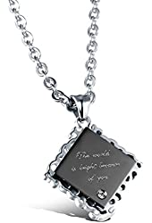 """3Aries Stainless Steel Rose Gold/Black Square Metal Board Couple Necklaces """"The world is bright because of you"""" Women/Men Necklace"""