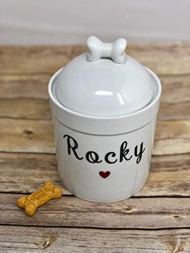 (Pucci Pet Apparel Personalized Dog Treat Jar and Canister with Name and Heart - Dog Bone Lid - Porcelain - 7.75