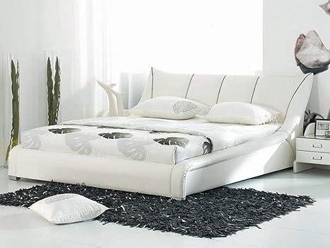 Letto Matrimoniale Bianco Moderno.Letto Matrimoniale Moderno In Pelle Bianca 160x200cm Nantes