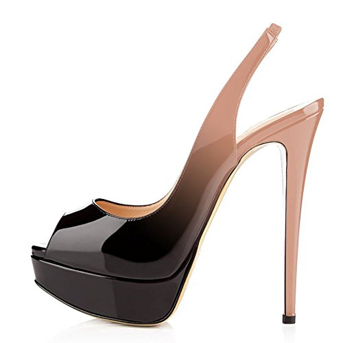 UMEXI Women Peep Toe Platform Sandals Slingback High Heels Party Stilettos Dress Shoes Black to Nude Size 9
