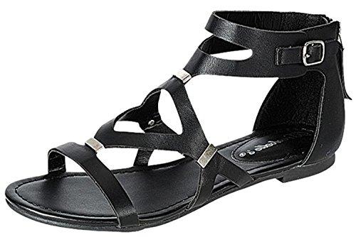 Breckelles Kvinners Cutout Gladiator Grommet Strappy Flat Sandal Sort