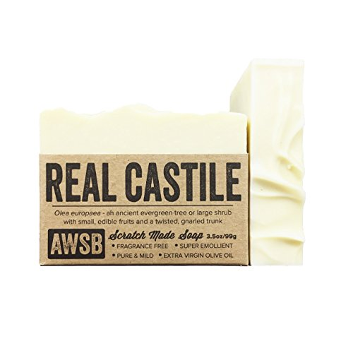 ((6 Pack) Real Castile Bar Soap, made with 100% Organic Olive Oil, All Natural, Vegan, for Super Sensitive Skin, Handmade by A Wild Soap Bar (6 pack))