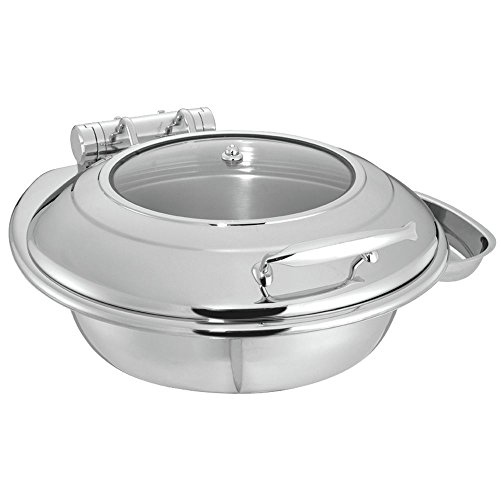 HUBERT Round Induction Chafer 6 3/10 Quart Stainless Steel - 20 1/2 L x 18