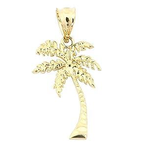 Amazon 14k yellow gold palm tree pendant necklace pendant 14k yellow gold palm tree pendant necklace 13 15 16 18 20 22 mozeypictures Choice Image