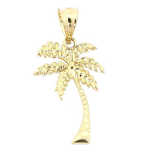 14k Yellow Gold Palm Tree Pendant Necklace - pendant only 14k Yellow Gold Palm Tree
