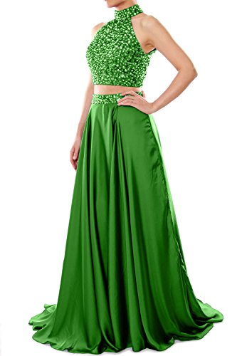 MACloth Women Two Piece Prom Dress High Neck Chiffon Long Formal Evening Gown Verde