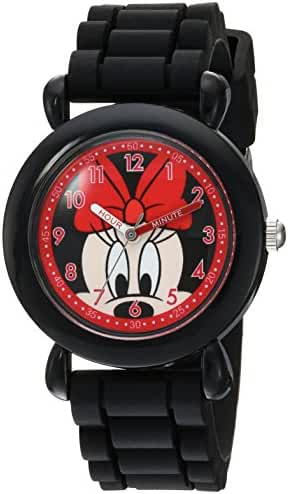 Disney Girl's 'Minnie Mouse' Quartz Plastic and Silicone Casual Watch, Color:Pink (Model: WDS000135)
