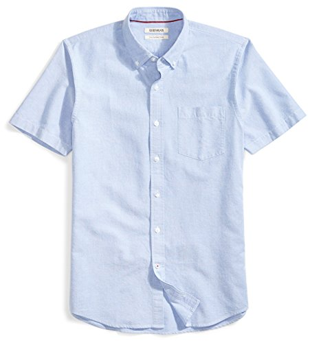 - Goodthreads Men's Slim-Fit Short-Sleeve Solid Oxford Shirt with Pocket, Blue, Large