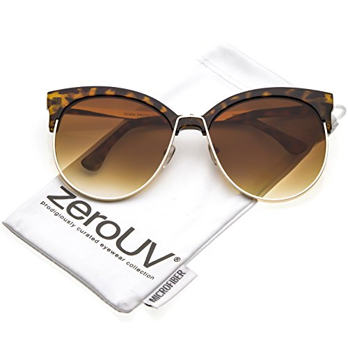 zeroUV - Oversize Horn Rimmed Round Flat Lens Half Frame Cat Eye Sunglasses 61mm (Tortoise Gold / - Peepers Sunglasses Jeepers