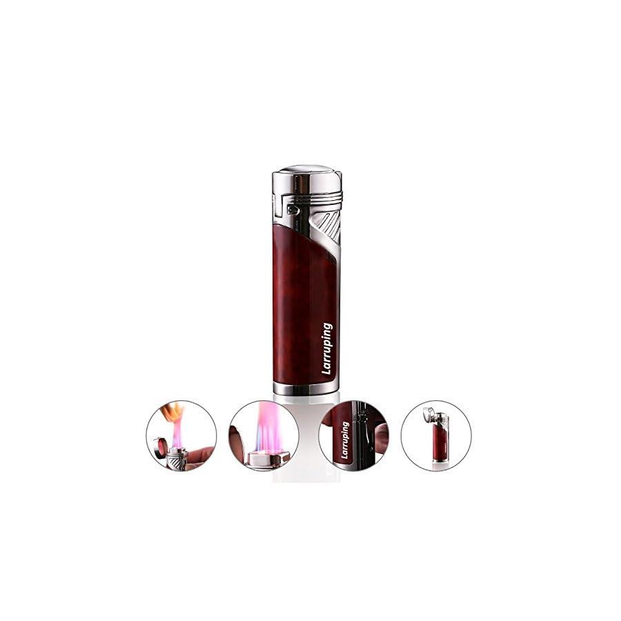 Larruping® Quadruple Jet Flame Butane Cigar Cigarette Torch Lighter with Cigar Punch Attachment