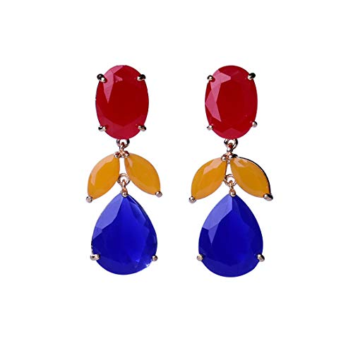 Earrings Drop Linear Crystal - Teardrop Dangle Earrings for Christmas Multi Color Crystal Drop Linear Dangle Earrings Pierced Austrian Style Hypoallergenic Earrings Womens Wedding Jewelry Christmas Gift