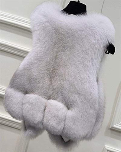 Cappotto White Giacche Tasche Autunno Giacca Fuchs Invernali Eleganti Outerwear Ecopelliccia Moda Donna Di Manica Grazioso Con Confortevole Lunga Giovane Pelliccia Termico Calda H6znTwq14c