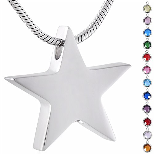 Memorial Jewelry Birthstone Personalized Star Cremation Jewelry My Friend Star Urn Necklace Pendant ()