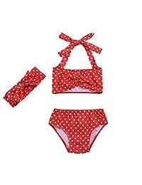BINMUO Toddler Swimsuit Girl Dot Bow Two-Piece Swimwear Bathing Swimsuit Bathing Suit Hairband Set