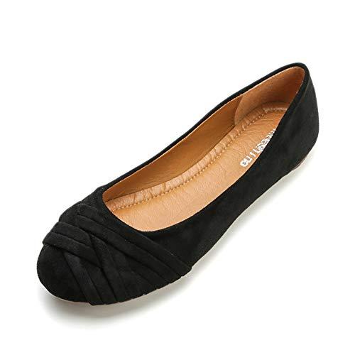 Meeshine Women's Comfortable Bow Point Toe Flat Pumps Slip On Shoes(Weaving Black US 8