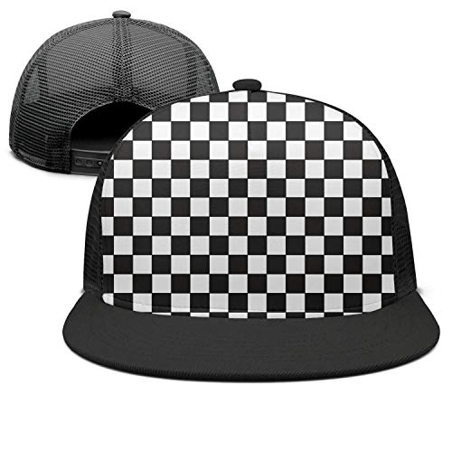 XUWU Men&Women Baseball Cap Black & White Checkered Flag Snapbacks Dad Hat Mesh Trucker Hats (Checkered Flag Baseball Cap)
