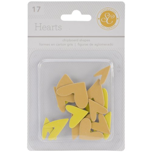 Studio Calico 17-Piece Essentials Heart Chipboard Shapes, Yellow/Orange ()