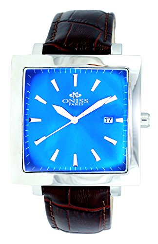 "Oniss Mens ""Rigid"" Stainless Steel & Leather Watch-Silver tone/Blue dial/Brown strap"