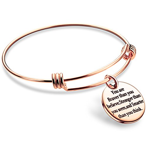 lauhonmin You are Braver Stronger Smarter than you think Inspirational Bracelet Expandable Bangle Gift for Women Men (Rose Gold Color Stainless Steel) by lauhonmin (Image #1)