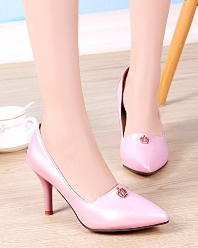Womens on Wedding Pink Heel Slip Stilettos Low Toe Sexy Aisun Shoes Pointy Party Cut High Pumps HqAvwdZ7