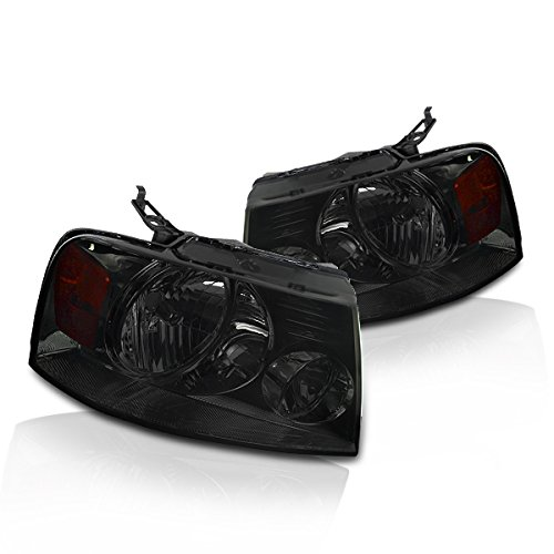 Instyleparts Smoke Lens Headlights with Chrome Housing Made For And Compatible With Ford F150 F-150 Lincoln Mart LT ()