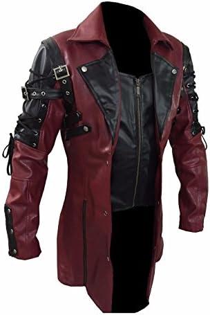Steampunk Maroon & Black Renaissance Punk Faux Leather Victorian Gothic Coat