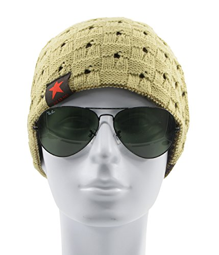 Century Star Men's Fashion Pentacle Slouchy Knitted Snowboard Ski Ribbed Beanie Beige