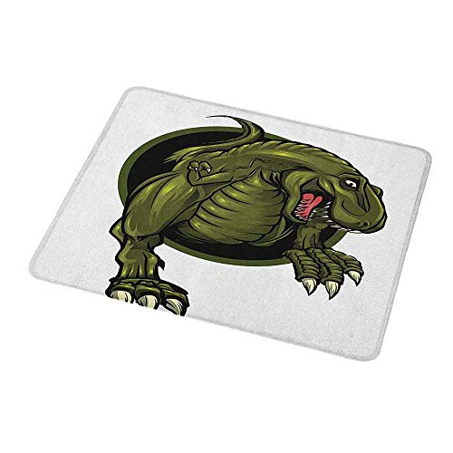 Gaming Mouse Pad Custom Design Mat Jurassic Roaring T-rex Mascot Ancient Animal Horror Wildlife Wilderness Extinct Non-Slip Rubber Base Ideal for Keyboard PC and Laptop - T-rex Booties Grip