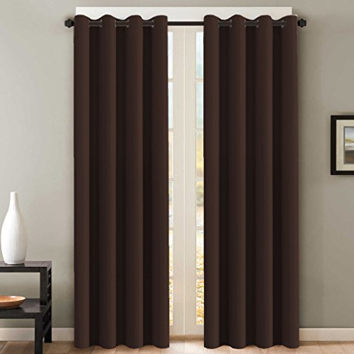 H.VERSAILTEX Blackout Room Darkening Curtains Window Panel Drapes - (Chocolate Brown Color) - 2 Panels - 52 inch Wide by 84 inch Long Solid Pattern, Grommet - Brown Window Curtain