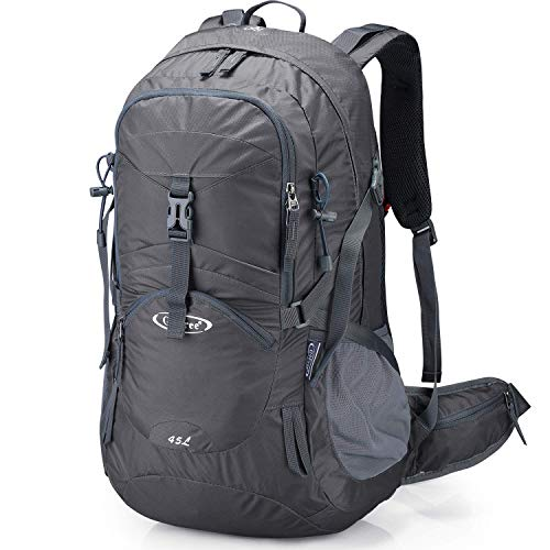 G4Free Gray Travel Backpack Daypack for Men Hiking Bag with Rain Cover Waterproof Water Bladder for Outdoor Mountaineering Camping Climbing (Dark Grey)