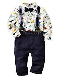 Happy Cherry Baby Boys Gentleman Suits Jumpsuit Rompers with Dinosaur Pattern