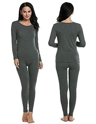 Ekouaer Thermal Sets Womens Underwear Long John Set Fleece Lined Winter Base Layer Slimming Top & Bottom Pajama PJ Set S-XXL