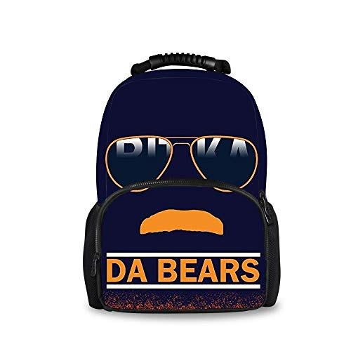 YongColer Casual Daypack Big Capacity Multipurpose Anti-Theft Shoulder Bag Backpack for Trekking Travel Running - Da Bears Chicago Windy City Mustache Glasses, Boys Girls Gift, Travel Sport Backpack