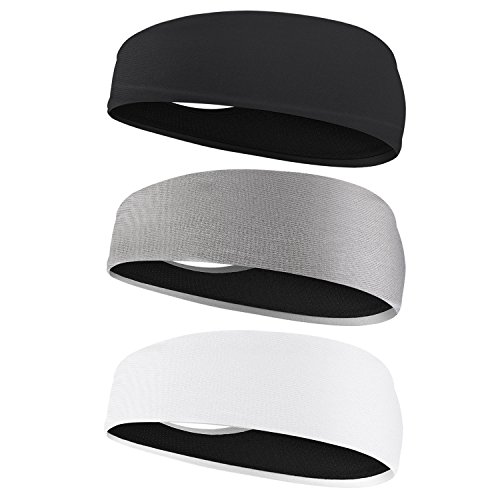 Hautoco Mens Headband -3 Pack Guys women Sweatband & Sports Headband for Yoga, Running, Working Out and Crossfit - Ultimate Performance Stretch