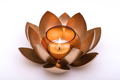 Lotus Candle Holder | Brass and Glass Combination | Beautiful Home Decor |Pooja Accessory | Excellent Indian Gift Item | Perfect Bridal or House Warming Gift or Business Gift |